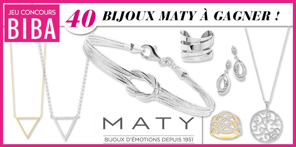 Tentez de gagner un des 40 bijoux Maty mis en jeu parmi bagues, colliers, bracelets et boucles d'oreilles !